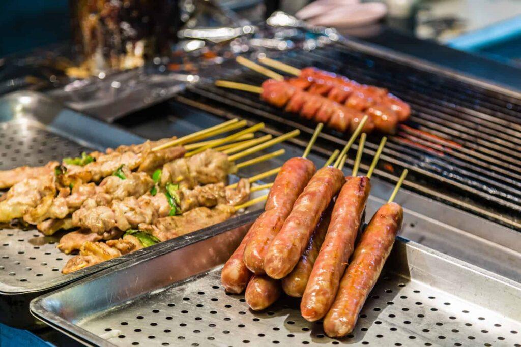 Taiwan food markets. Taiwanese sausages and food sticks